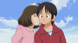 Ko Kitamura(right) and his love interest Wakaba(left) sharing a kiss