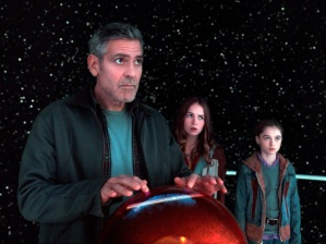 "This photo released by Disney shows, from left, George Clooney, as Frank Walker, Britt Robertson as Casey, and Raffey Cassidy as Athena, in a scene from Disney's ""Tomorrowland."" The movie releases in U.S. theaters on May 22, 2015. (Film Frame/Disney via AP)"